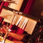 Adding a touch of the right spices with the percussion kit, Tony Pierre, leader of the sextet.